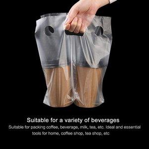 100шт Одноразовый полиэтиленовый пакет Портативный Milk кофе мешок Прозрачные Прочные мешки Takeout мешок упаковки
