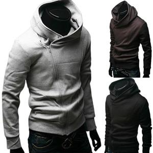2020 мужская мода сплошной цвет с длинным рукавом Диагональная молния хлопчатобумажная спортивная куртка с капюшоном Спортивная одежда тренажерный зал
