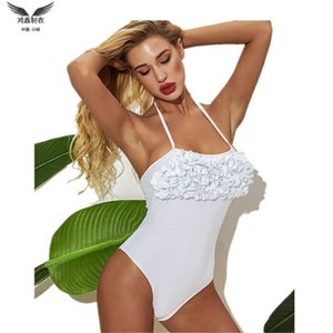 2020 new bikini hot sale sexy hanging neck chest petal one-piece swimsuit