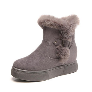 CINESSD Women Boots Tassel Height Increasing Ankle Botas Warm Plush Waterproof Cow Suede Antiskid Outsole Winter Snow Booties