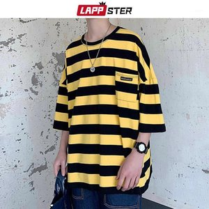 Lappster Harajuku Stripe Tshirt Estate 2020 Mens T-shirt in stile coreano Uomo Giallo Giallo Giallo Oversized Hip Hop Casual T-Shirt T-Shirt1
