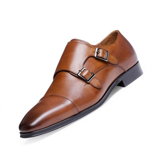 Large size38-48 Genuine Leather Men Oxford Shoes Pointed Toe Men Dress Shoes With Double Buckle Male Wedding