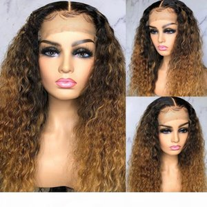 Honey Blonde Curly Lace Front Wig Pre Plucked With Baby Hair Ombre Blonde Human Hair Wig Remy Hair For Women