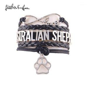 Little Minglou Infinity Love Australian Shepherd Pulsera Charm Pulseras de cuero Pulseras Brazaletes para mujer Jewelry1