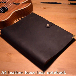 a4 3-hole loose-leaf leather notebook handmade Leather Business Retro Notepad First layer cowhide 50 sheets Journal papg1