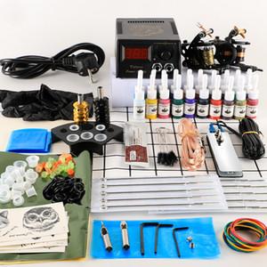 Kit 2 Tattoo Machines Gun 20pc Ink Power Supply Tattoo Grips Body Art Tools Complete Set Accessories Supplies