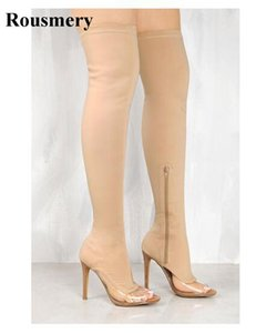 2020 New Fashion Women Open Toe Bandage PVC Patchwork Over Knee Boots Cut-out Elastic Long High Heel Boots Transparent