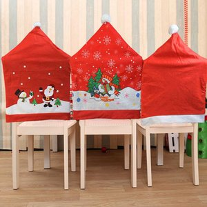 Santa Claus Snowman Chair Back Covers Dinning Room Restaurant Chair Cover Christams New Year Decoration for Home Natal Xmas Gift