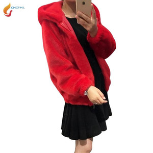 JQNZHNL 2020 New Winter Fall Women Casual Jackets Coat Women Solid Color Medium Long Hooded Faux Fur Coats Outwear L861
