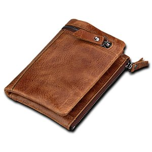 Limited edition New Style Crazy Horse Leather Anti-theft Brushed Leather Men Short Wallet for Valentine Gift New