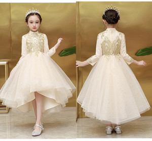 2021 Bling Stars Tulle Girls First Holy Communion Dresses High Low Long Sleeve High Collar Gold Lace Flower Girl Dress Party Dress Teen