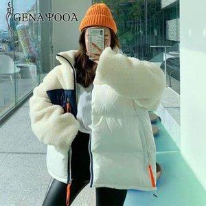 Genayooa Patchwork Parkas Mujer 2021 Streetwear Свободные Теплые женские зимние куртки и пальто толстые меховые пальто корейский стиль