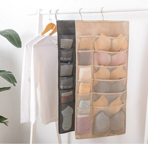 Stockage des sacs suspendus tissu multi-fonctions sous-vêtements chaussettes de soutien-gorge sac de rangement suspendu épais oxford pliage fixé au mur organisateur avec crochet