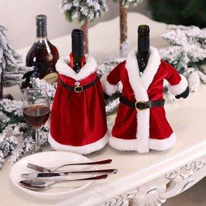 Merry Christmas Elbise Etek Şarap Şişesi Kapak Yeni Yıl Xmas Süslemeleri Ev Dekorasyonu için Navidad Hediyeler Çanta GWC2970