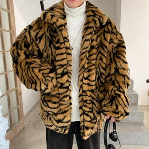 Tiger Grain Imitate Leather Men Tiger Pattern Fleece Fur Fluffy Coat Jacket Jumper Outwear Oversized Warm Outwear Jackets Man
