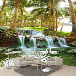 Custom Wallpaper 3D Coconut Forest Waterfalls Photo Wall Murals Living Room TV Sofa Background Wall Sticker Self-Adhesive Decor