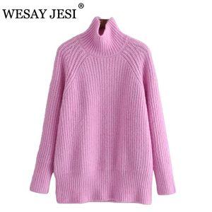 Wesay jesi camisolas mulheres sprin outono inverno casual minimalista elegante estilo coreano malha solta rosa roxo 2021 novo