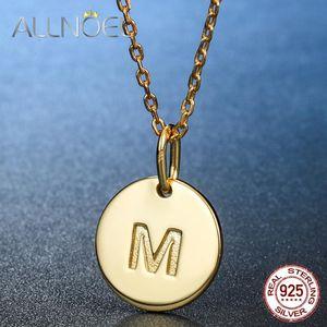ALLNOEL Silber 925 Schmuck runde hängende Halskette Brief drucken Persönliche Designed Unique Jewelry Goldfarbe