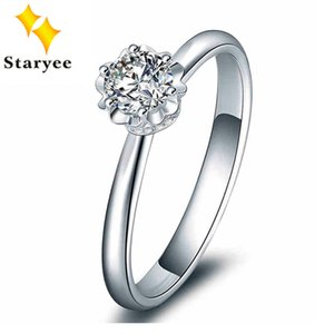 Certified 0.5CT VS D color Charles Colvard Moissanite Engagement Ring Genuine 18K White Gold Women Diamond Jewelry Au750 Stamp T200108