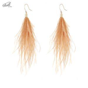 Badu Long Earring Ostrich Feather 3 Colors 2020 Women Dangle Drop Earring Vintage Fashion Jewelry Original Design Wholesale