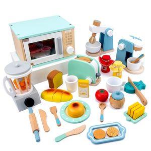 New Kids Wooden Pretend Play Sets Wooden Toys Parent-child Exchange Interest Cultivation Children's Simulation Kitchen Toy Set LJ201211