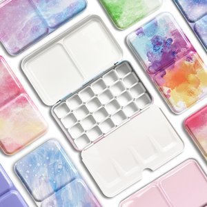 Cute 24 26 52Pcs Half Pans Watercolor Oil Paints Tins Empty Palette Storage Paint Tray Box For Art Painting Supplie Q1107