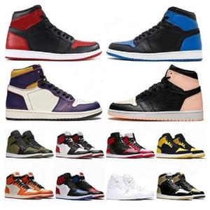 صندوق مزدوج جديد 1 أحذية كرة السلة عالية عالية 1 ثانية منتصف منخفض شيكاغو الملكي تو الأسود المعدنية UNC رجل إمرأة الرياضة أحذية رياضية حذاء المدربين