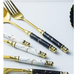 5pcs Ceramic Tableware Fork Spoon Knife Set Vintage Cutlery Set 304 Stainless Steel Dinner Dinnerware Set Fr jllUmY trustbde