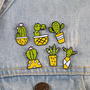 6Pcs set Fashion Plants Potted Brooches Green Cactus Cartoon Cute Enamel Pins Jewelry Gifts for Women Children Lapel Denim Badge