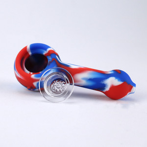 4.2 inches silicone smoking pipes Mixed color glass pipe glass smoking pipe with multi holes bowl hand pipes