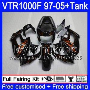 Body +Tank For HONDA SuperHawk VTR1000F 97 98 99 00 01 05 56HM.79 VTR1000 Orange flames F VTR 1000 F 1000F 1997 1998 1999 2000 2001 Fairings
