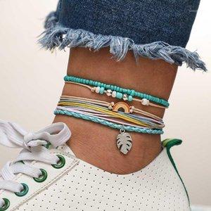 Braccialetto colorato braccialetto Braccialetto arcobaleno foglia arcobaleno set per le donne boho a mano perline blu regolabili 69311