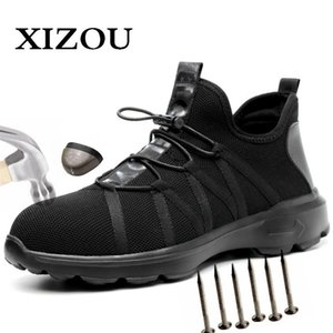 Xizou Safety Boot Air Mesh Zapatos de seguridad para hombres Botas de punta de acero Hombres Punchure Proof Sneakers Indestructible Shoes 201126