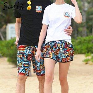 Hombres mujeres pareja nadar troncos colorido geométrico abstracto estampado verano playa pantalones cortos surfing correr deportes cordón boardshorts1