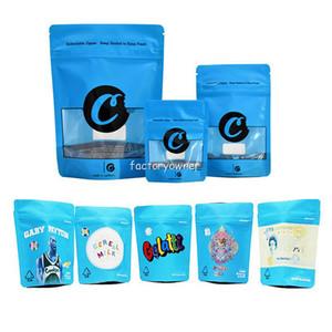 Bolsas de galletas azules 3.5 California SF 8º 3.5G Paquete de plástico Bolsa de embalaje Olor EDIBLE EDIBLES FLOR DRY HERB CRIPPER MYLAR BOLSA