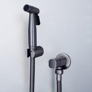 Tuqiu Hand Bidet Sprayer Douche Toilette Kit Gun Grau Messing Shattaf Duschkopf Kupfer Valve Jet Black Bidet-Hahn-Satz 201105