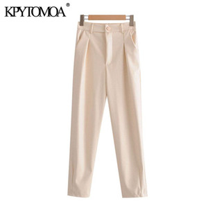 KPYTOMOA Donne 2020 pantaloni elastico posteriore di cuoio elegante di modo Faux dell'annata di alta wiat femminile cerniera caviglia Pantaloni Mujer
