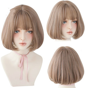 Lolita Wig With Bangs For Women Omber Blonde Brown Black Straight Short Hair Star Hairstyle Party Cosplay Bob Wig