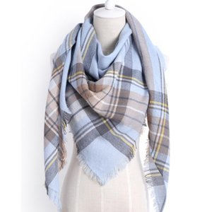 2020 nuevas mujeres de la bufanda del invierno de la manera bufanda de la cachemira triángulo dama a cuadros chal mayor barata 190cmX140cmX140cm