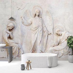 Custom Photo Wallpaper European Style 3D Stereoscopic Relief Angel Statue Mural Living Room Sofa TV Background Papel De Parede