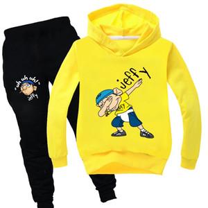 2 Pieces Jeffy Hoodies dos desenhos animados Tops e calças de algodão camisola Outfits Hoody Define Rosa Amarelo Preto