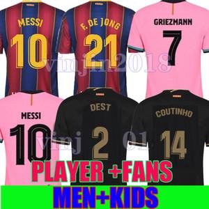 Player 버전 바르셀로나 축구 유니폼 (20 개) (21) camiseta 드 푸 웃 2020 2021 메시 ANSU FATI GRIEZMANN DE JONG COUTINHO DEST MEN KID 셔츠