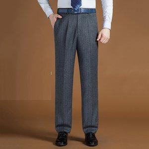 2020 Mens Polister Polyester Tersiyer Düz Pantolon Klasik Erkek İşler Bürosu Boyutu Büyük 4244 UQXT
