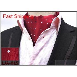 Hombre Cravat Lazos Vintage Polka Dot Floral Boda Formal Cravat Ascot Scrunch Self British Style Gentleman Poly Qyloft New_dhbest