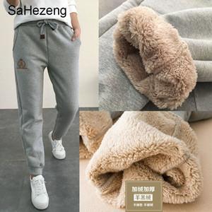 Sahezeng Kadınlar Kış Kalın Kuzu derisi Kaşmir Pantolon Sıcak Kadın Rahat Pantolon Gevşek Harlan Pantolon Uzun Pantolon Boyutu 5XL WP6 Y200114