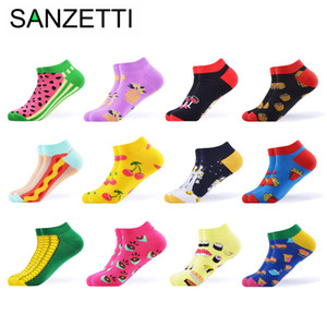 SANZETTI 12 Pairs Lot Women Summer Casual Colorful Ankle Socks Happy Combed Cotton Short Socks Novelty Pattern Boat Gifts Socks 201021