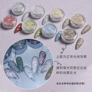 Nail Glitter 1BOX Art Colorful Diamond Powder, Silver Red Sequins, Change Colors In Strong Light, Decoration