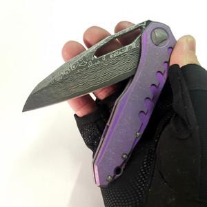 Versión de personalización limitada SIGIL MK6 Cuchillo plegable TC4 Mango de titanio Damasco Blade Perfect Pocket EDC Tactical Camping Herramientas de pesca