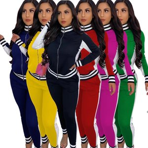 Jh Women Two Pieces Outfits Clothing Ribbon Stitching Jacket Leggings Jogging Suits Cardigan Pants Sweatsuits Fall Winter Sportwear S -2xl
