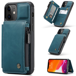 Flip Case for iPhone 12 Retro Leather Zipper Magnetic Closure Wallet Phone Case Cover for iPhone 11 Pro Max XR XS 7 8
